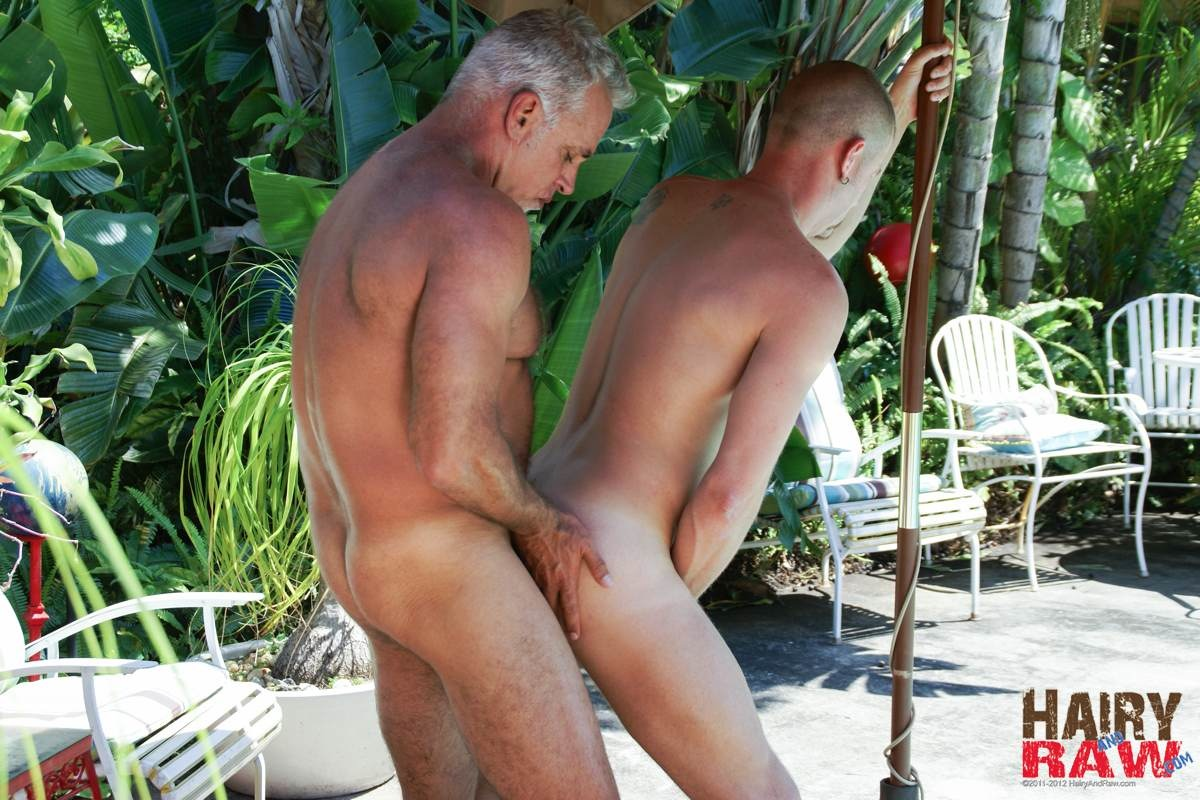 Hairy-and-Raw-Daddy-Jeff-Grove-and-Christian-Matthews-Bareback-BBBH-Amateur-Gay-Porn-10 Amateur Hairy Silver Daddy With Thick Cock Barebacks His Hung Pool Boy